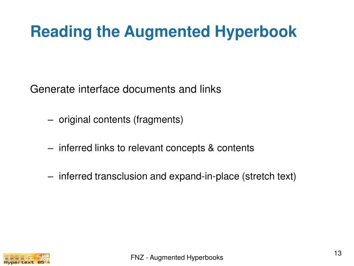 Reading the Augmented Hyperbook