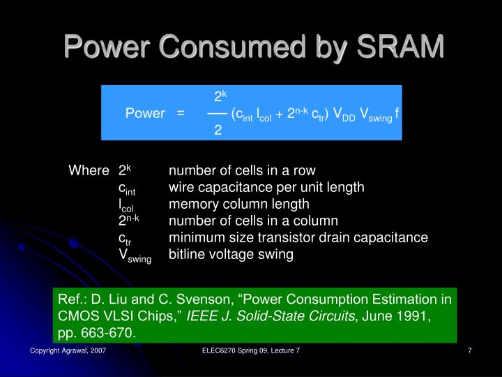 Power Consumed by SRAM