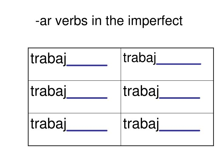 -ar verbs in the imperfect