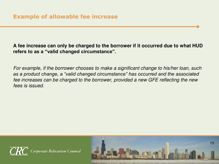 Example of allowable fee increase