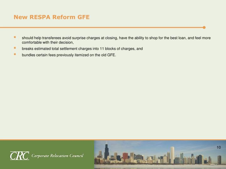 New RESPA Reform GFE