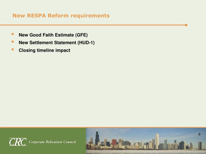 New RESPA Reform requirements
