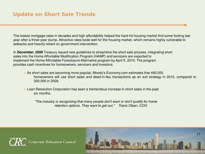 Update on Short Sale Trends