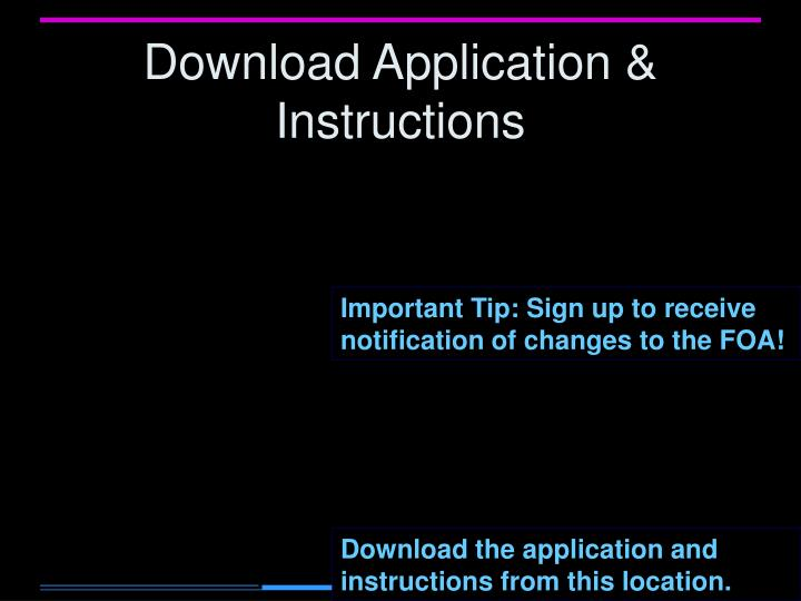 Download Application & Instructions