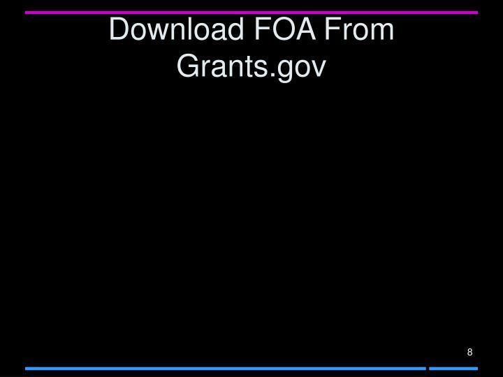 Download FOA From Grants.gov
