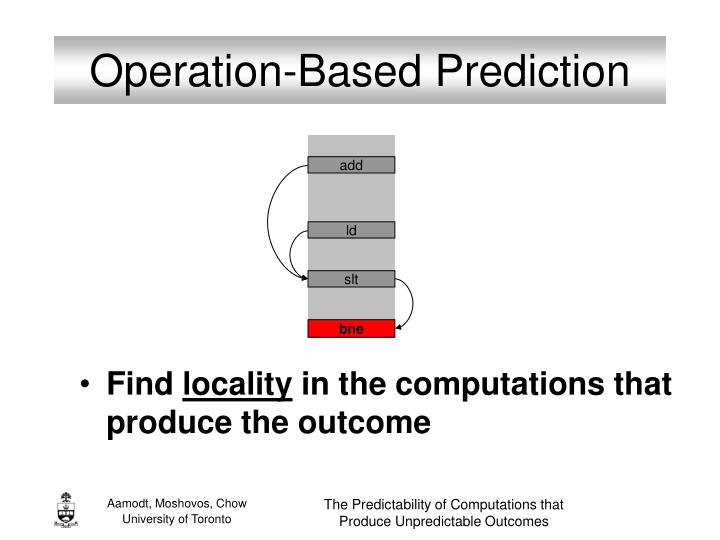 Operation-Based Prediction