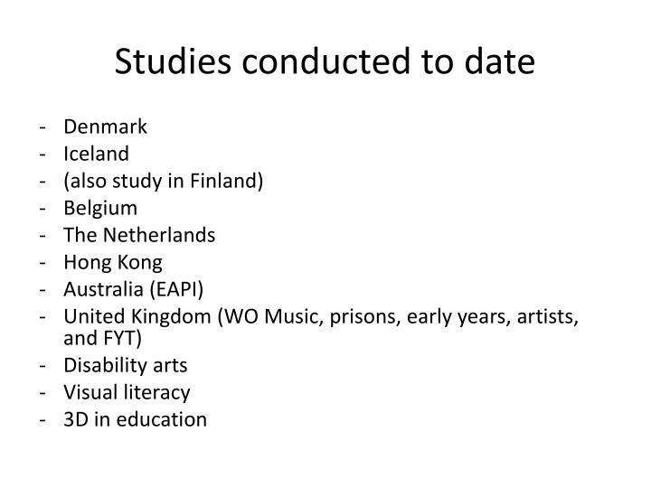 Studies conducted to date