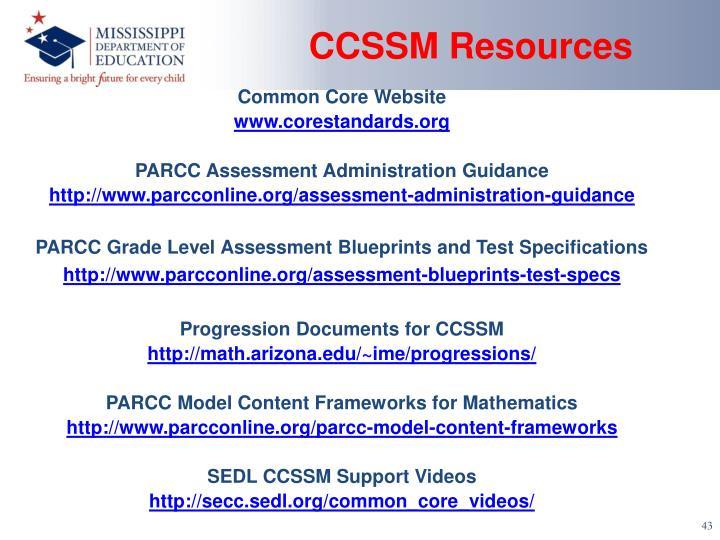 CCSSM Resources