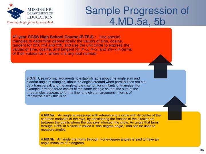 Sample Progression of 4.MD.5a, 5b