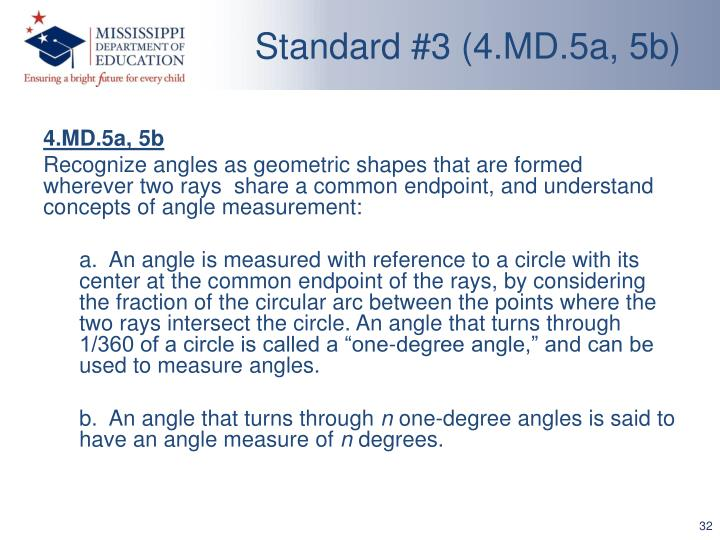 Standard #3 (4.MD.5a, 5b)