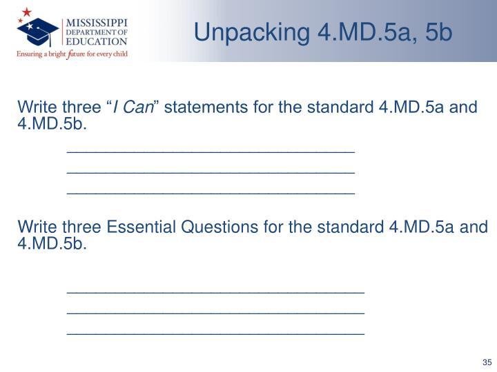 Unpacking 4.MD.5a, 5b