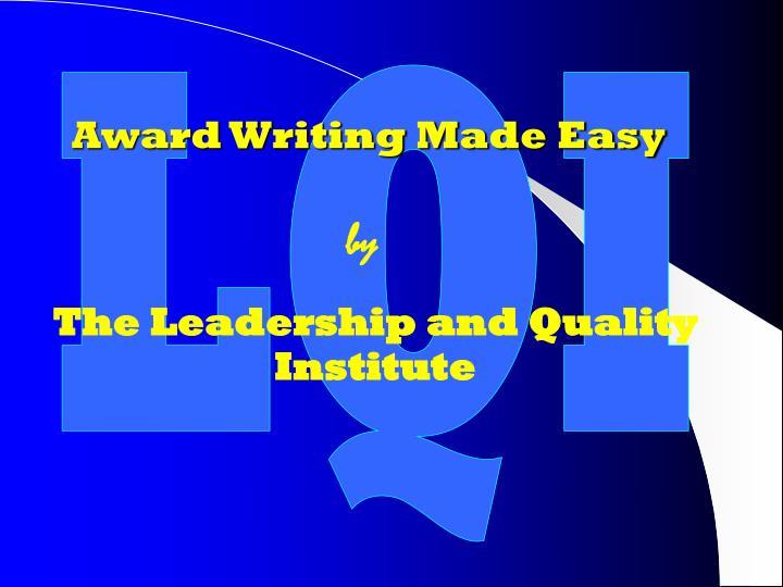 Award Writing Made Easy