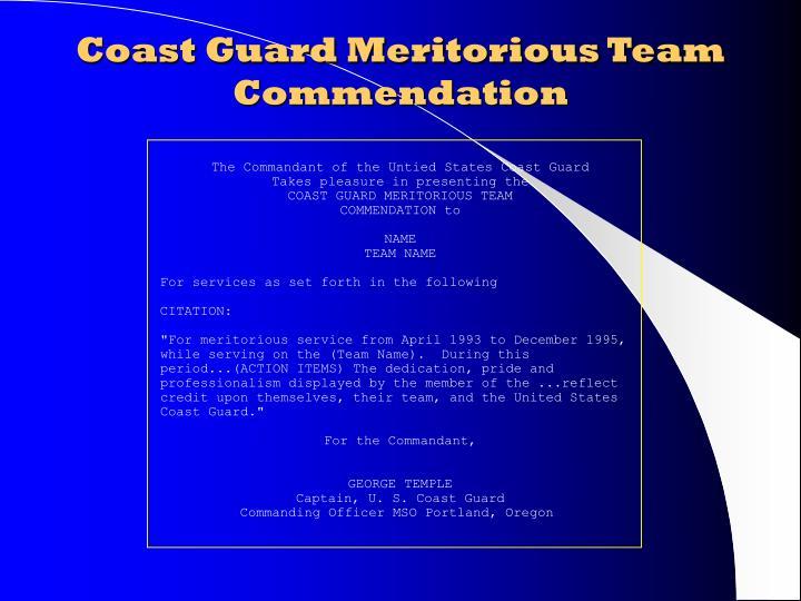 Coast Guard Meritorious Team Commendation