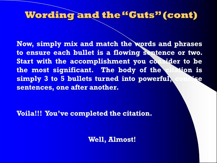 """Wording and the """"Guts"""" (cont)"""