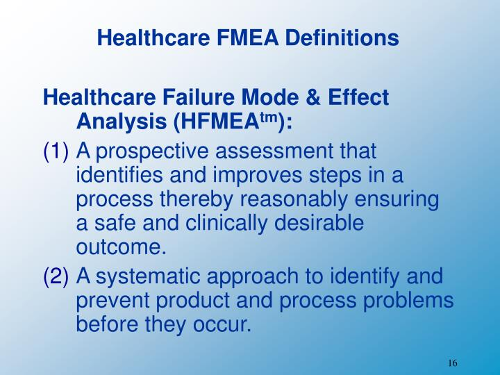 Healthcare FMEA Definitions