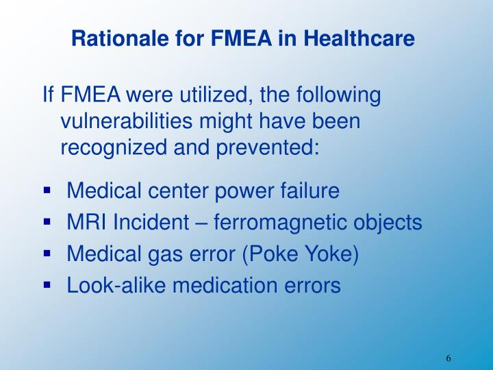Rationale for FMEA in Healthcare