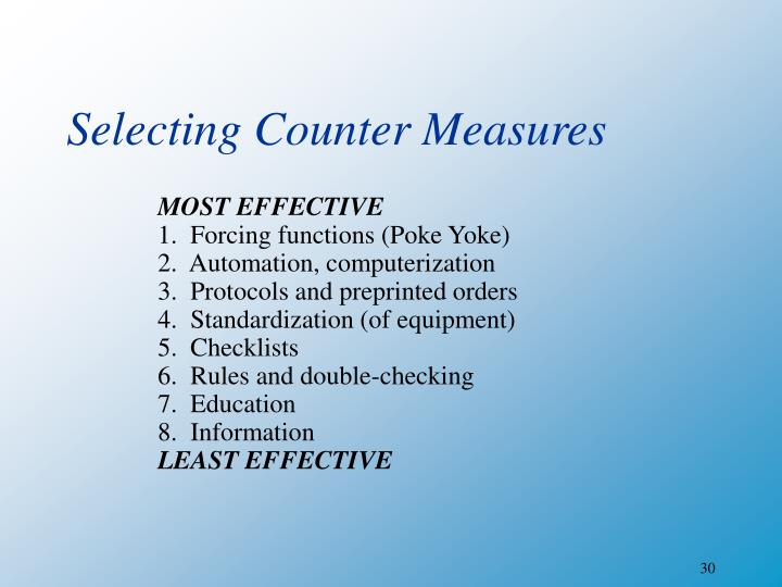 Selecting Counter Measures