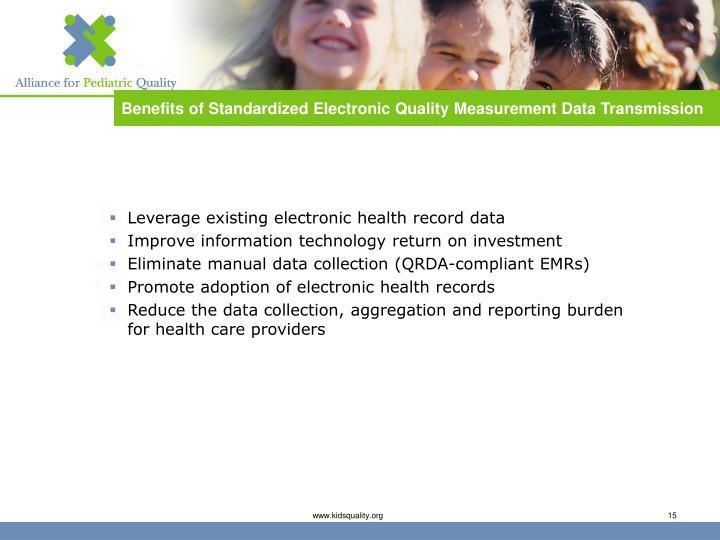 Benefits of Standardized Electronic Quality Measurement Data Transmission