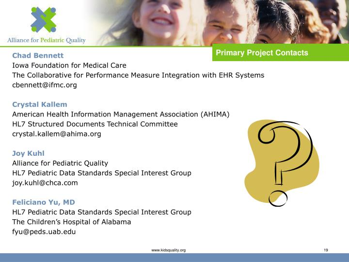 Primary Project Contacts