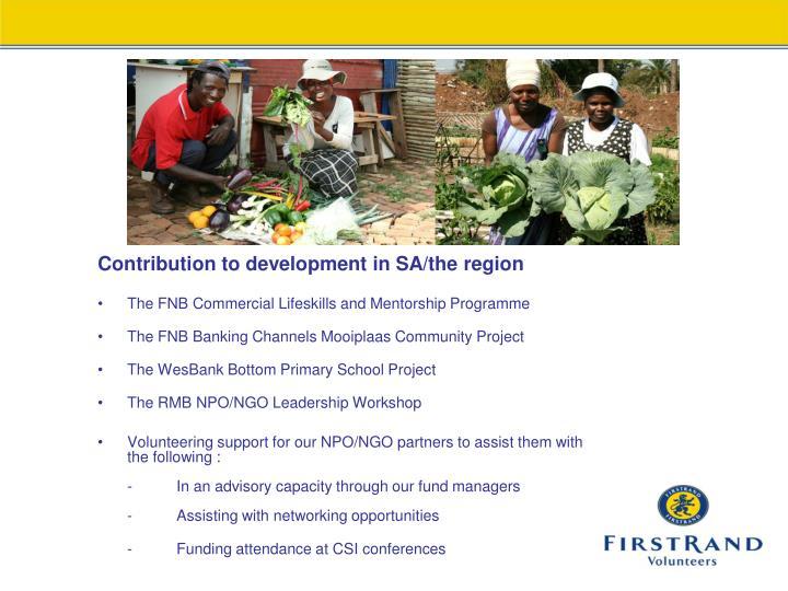 Contribution to development in SA/the region