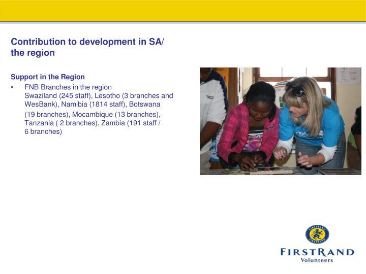 Contribution to development in SA/