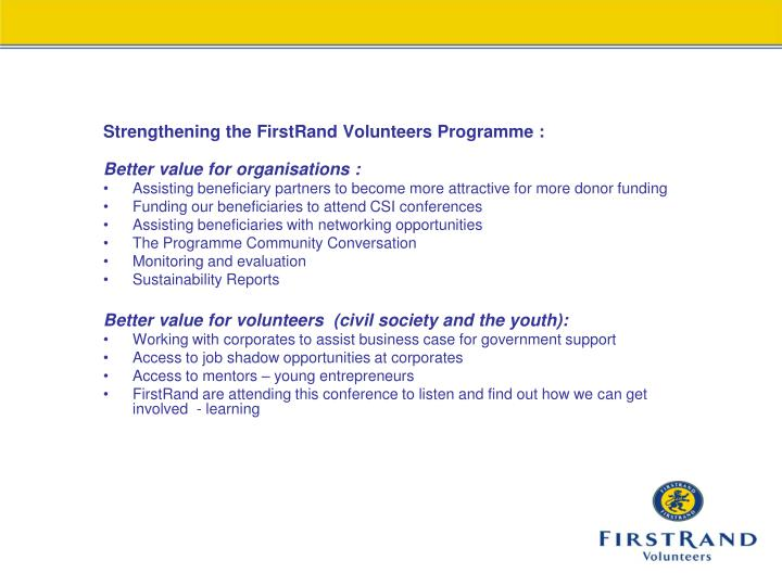 Strengthening the FirstRand Volunteers Programme :