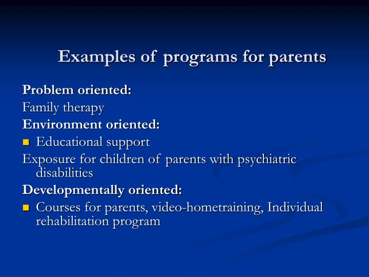 Examples of programs for parents