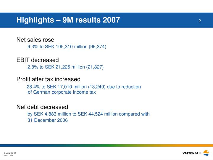 Highlights – 9M results 2007