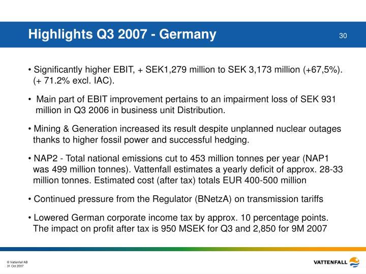 Highlights Q3 2007 - Germany