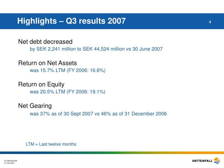 Highlights – Q3 results 2007