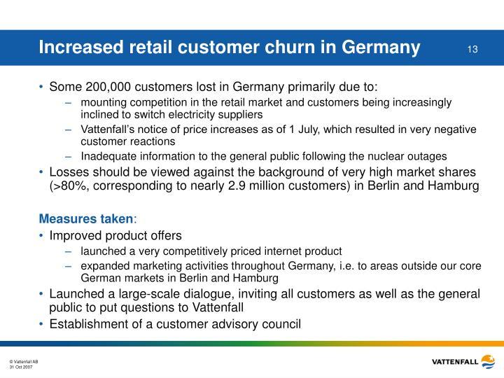 Increased retail customer churn in Germany
