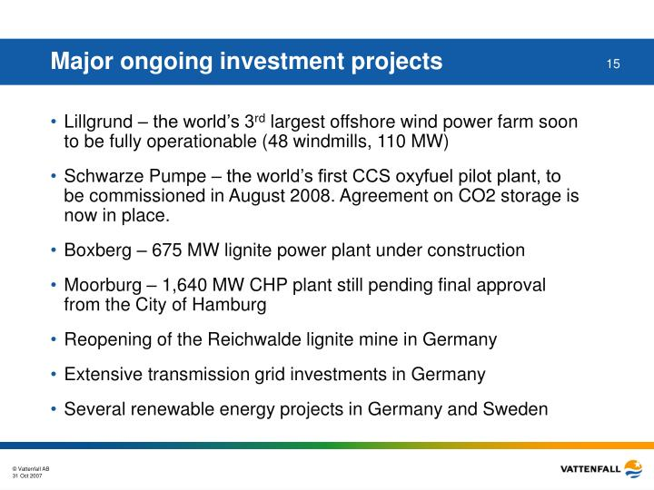 Major ongoing investment projects