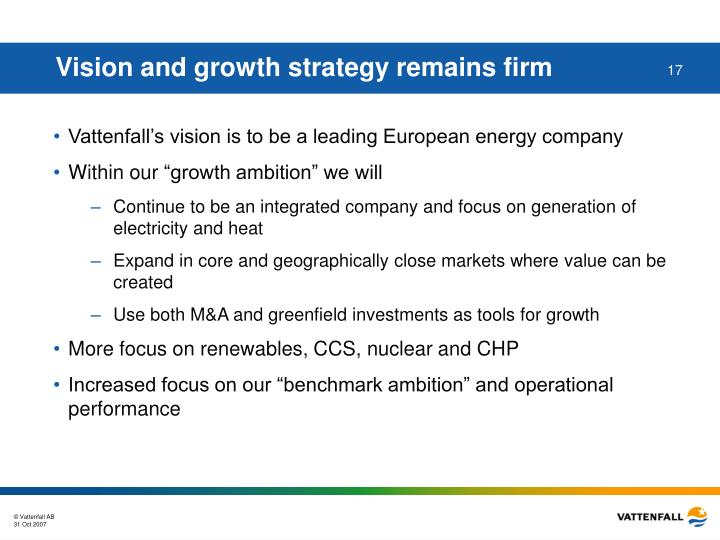 Vision and growth strategy remains firm