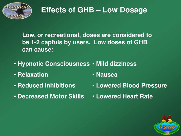 Effects of GHB – Low Dosage