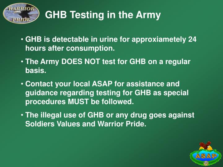 GHB Testing in the Army