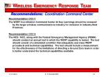 recommendations coordination command center
