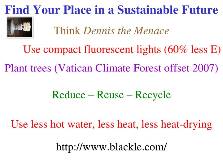 Find Your Place in a Sustainable Future