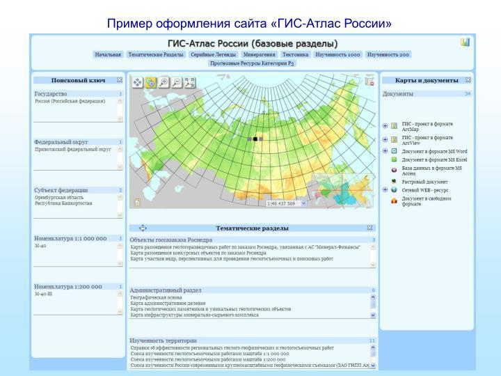 Пример оформления сайта «ГИС-Атлас России»