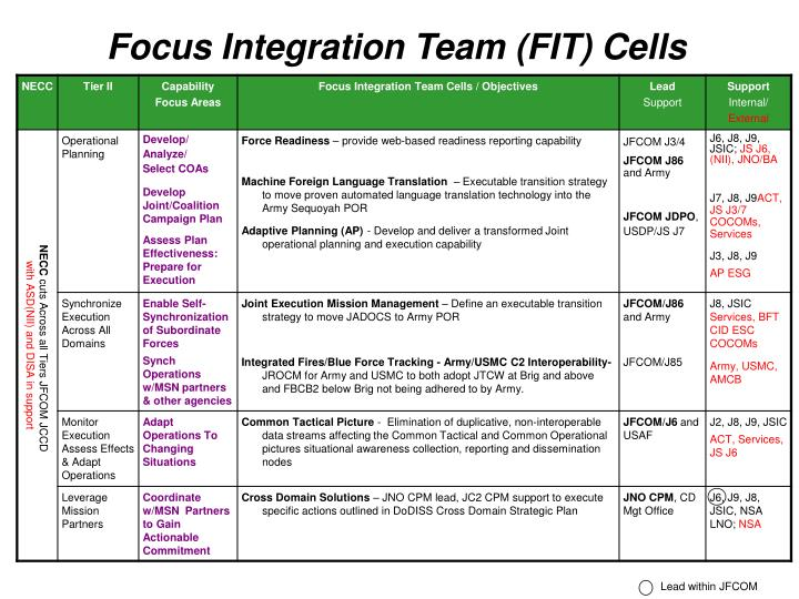 Focus Integration Team (FIT) Cells