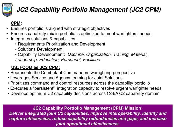 JC2 Capability Portfolio Management (JC2 CPM)