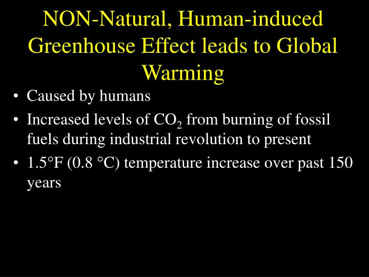 NON-Natural, Human-induced Greenhouse Effect leads to Global Warming