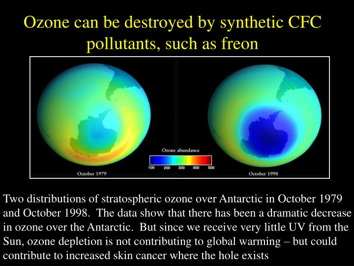 Ozone can be destroyed by synthetic CFC pollutants, such as freon