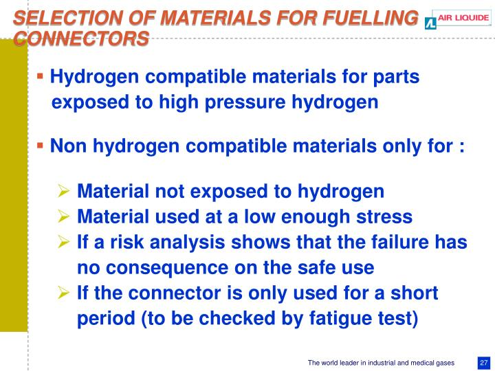SELECTION OF MATERIALS FOR FUELLING
