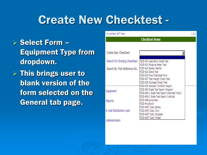Create New Checktest