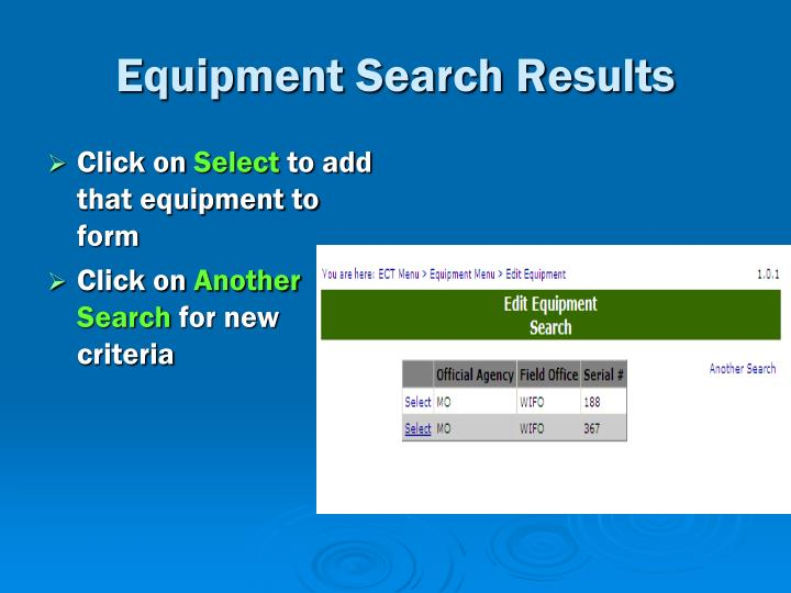 Equipment Search Results