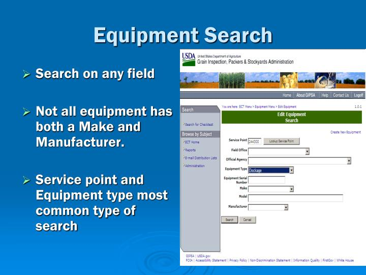 Equipment Search