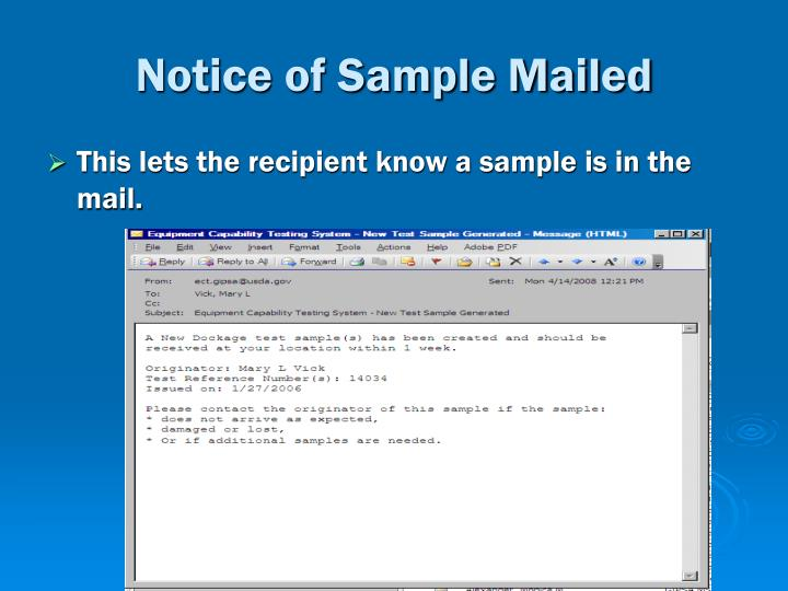 Notice of Sample Mailed