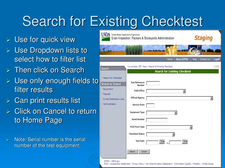 Search for Existing Checktest