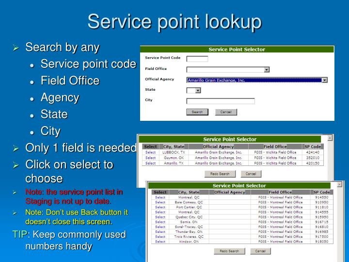 Service point lookup