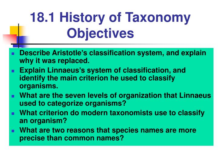 18 1 history of taxonomy objectives